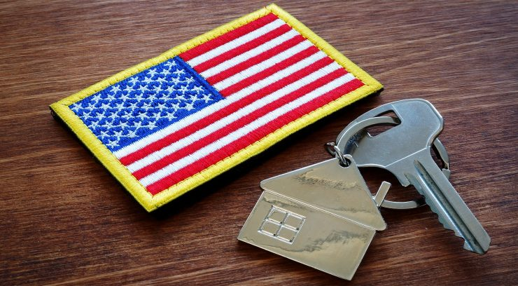 american flag with home keys
