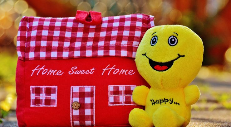 happy home pillow and plushie