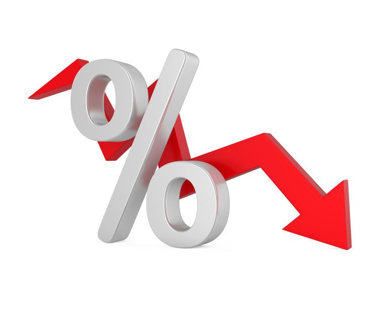 image of interest rate going down
